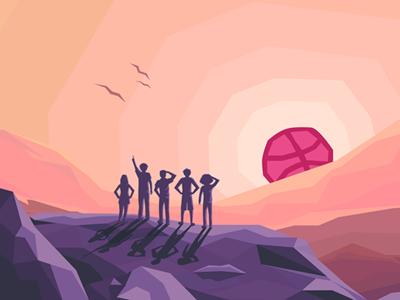 Hello Dribbble! lowpoly debut sunrise mountain birds ducks ball dribbble design team
