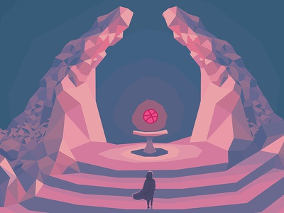 Summoned cave girl magician fantasy debut adventure lowpoly altar dais stone