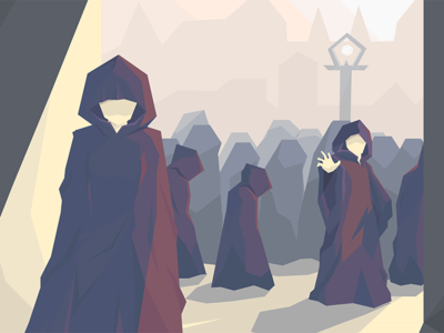 Heteroclite people low poly illustration concept cloak