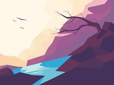 Tarn low poly landscape lake tarn mountain bird tree concept illustration