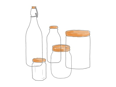 Jars lifestyle zero waste illustration glass jars mason jar