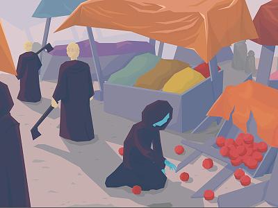 Oporopolist illustration the words project low poly concept concept art market fruit oporopolist