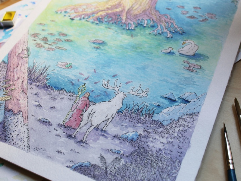 Grith water pond mangrove tree forest magician the words project illustration watercolor moose sanctuary