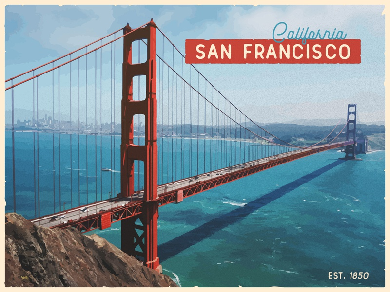 Infogravy | Postcard Weekly Warm-Up vintage americana retro travel united states california san francisco golden gate bridge illustration postcard design dribbbleweeklywarmup postcard