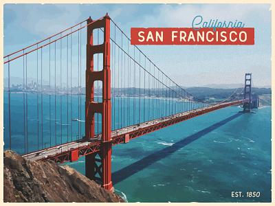 Infogravy   Postcard Weekly Warm-Up vintage americana retro travel united states california san francisco golden gate bridge illustration postcard design dribbbleweeklywarmup postcard