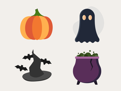 Spooky Season Starter Pack icon set cauldron halloween design weeklywarmup halloween pumpkin icon design spooky season dribbbleweeklywarmup flat custom icon design icons icon flat design illustration