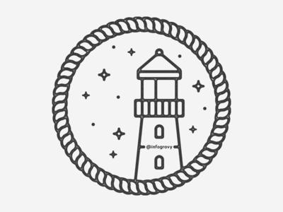 Lighthouse line art.