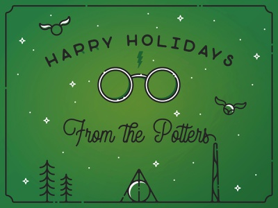 Infogravy | Potter Holiday Card harrypotter custom icon design vector outline illustration flat line art icons icon flat design dribbbleweeklywarmup