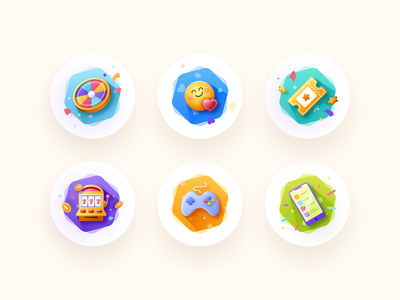 Let's Play! fun slot machine wheel details colorful phone ticket casino game set icons ux board app shadow vector clean ui design illustration