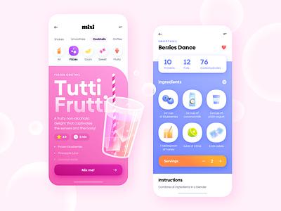 Drinks - Mobile App icon set recipe drink shake colors blur white ux fruits food digital mobile gradient app illustration shadow minimal clean ui design