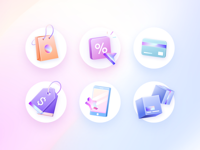 E-commerce Icons Set delivery shop payment gradient holographic board ux set icons e-commerce card box phone details app vector shadow ui illustration design