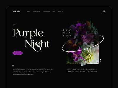 Purple Night - Web Design florist e-commerce shop icon sharp bouquet flowers plant dark flat photo digital clean typography illustration ux web minimal ui design