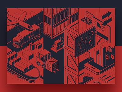 Transport illustration piechart board plane app box chart statistic storage isometric minimal shadow transport truck ship forklift red flat branding vector illustration