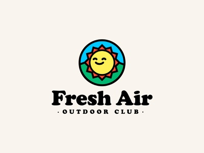 Fresh Air Outdoor Club illustration typogaphy letter capital color palette design logo branding cooper black outdoor camping logotype