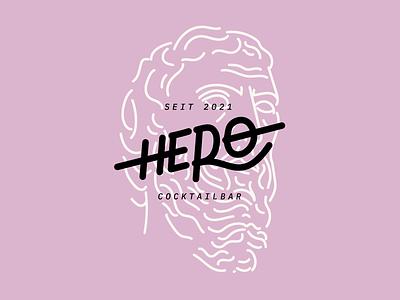 HERO typographic type handwritten pink logotype logo letter illustration typography design