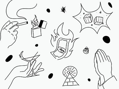 Scribbles luck smoke lighter fire bar drawing pen napkin design branding scribble illustration