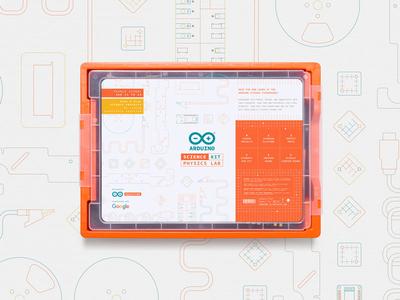 Arduino Science Kit with Google branding vector design illustration 2d packaging packaging design kit google arduino