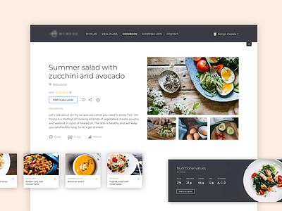 Personalised meal planning app recipe vector design planner minimal healthy food clean app