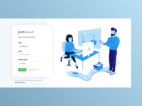Illustrated login page to product management tool