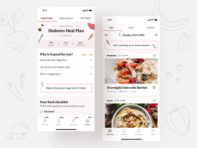 Whole foods healthcare app concept health uidesign icon ux healthcare drawing typography mealplan recipe diet food ui design illustration