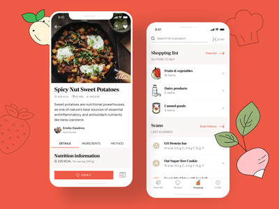 Healthy Meal Case Study health diet recipe app typography food ui ux illustration vector colours design