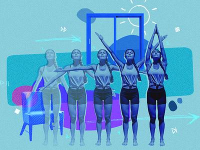 Movement Evolution - Tune Up Fitness yoga illustration paper scan fitness branding texture artwork
