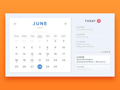 #038 - Calendar tasks year month today schedule date orange daily ui card calendar