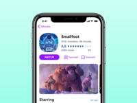 Movie app — Smallfoot with watch button