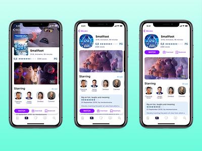 Smallfoot — three movie screen options. light theme button design iphone movies cinema ux ios mobile movie app ui