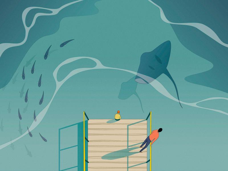 Contemplation sea ray fish pier sea vector grain adobe illustration character flat gradient drawing art digital art