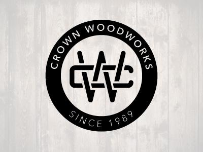 Crown Woodworks identity brand wood logo monogram circle c w cw lockup branding