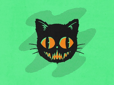 Black Cat retro supply halftones retro vintage simple halloween black cat