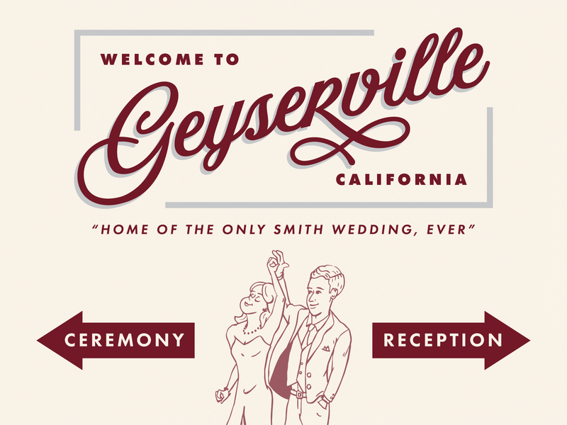 Wedding Signage typography retro dancing billboard welcome americana script wine country california travel vintage illustration branding sign wedding