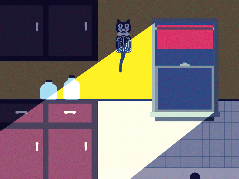 Kit Kat Clock illustration harsh light noise room kitchen kat clock kitkat