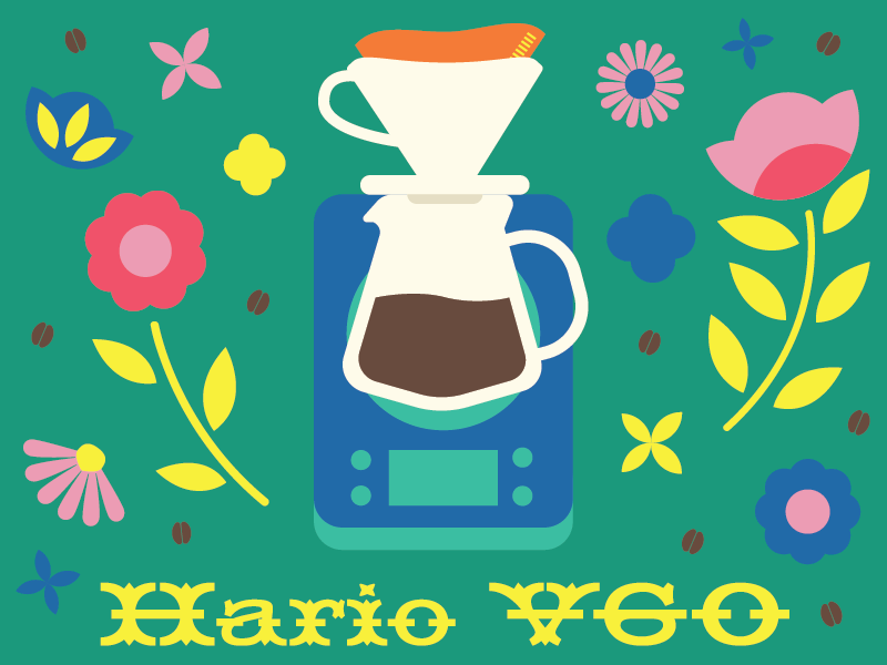 Coffee Flowers Hario V60 illustration 3rd wave flat pourover hario flowers coffee