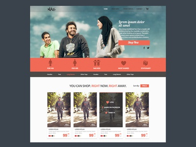 Nastrends Landing Page ui ux red shopping e-commerce cart price categories egypt