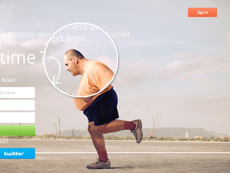 Fitnass Landing Page  ui ux landing sports fitness worldwide red colors fat guy clean