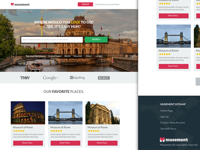 Landing Page for Musement landing page ui design ux flat colors image
