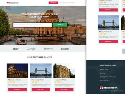 Landing Page for Musement landing page ui design ux flat colors image