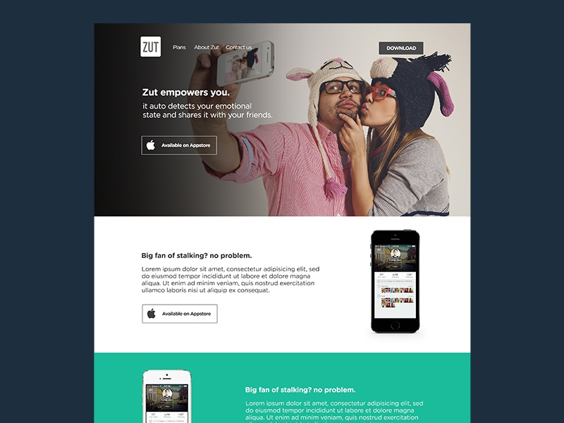 Zut Landing Page landing page app store selfie auto detect free camera iphone apple