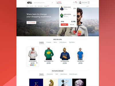 NasTrends Homepage  payment red buy shopping e-commerce page landing ux ui