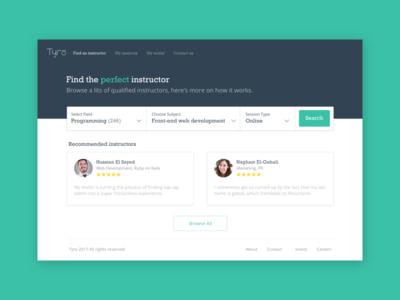 Homepage for Tyro landing startup online education book search home