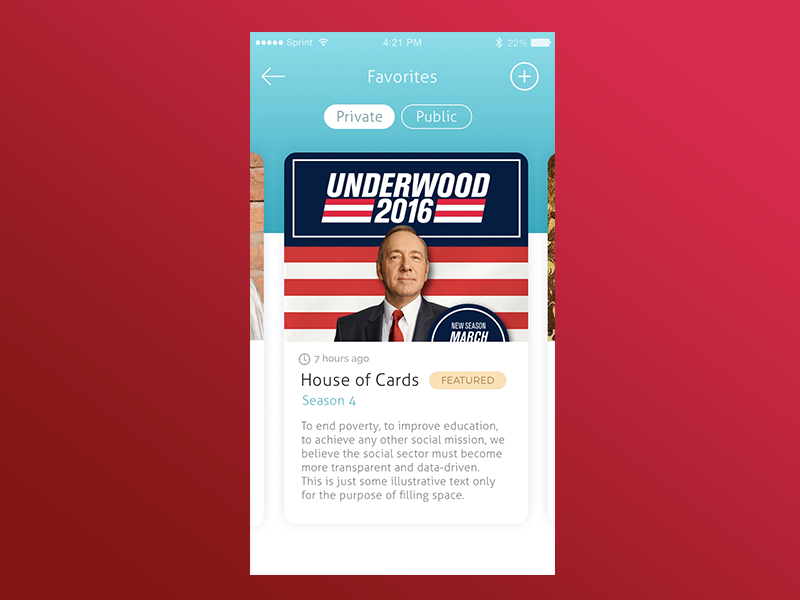 Favorite TV Show post card design animation app ux ui