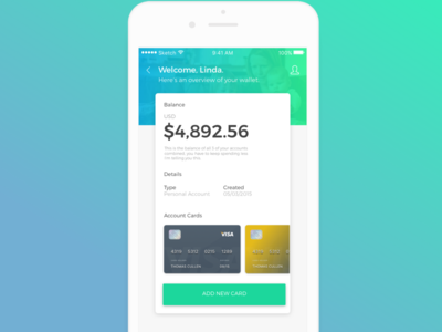Banking App card credit concept app ux ui account banking
