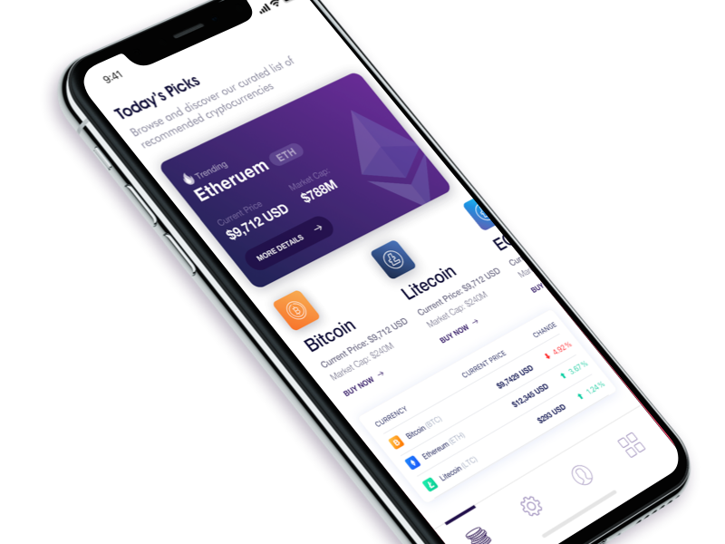 Crypto App dark gradient currency digital bitcoin crypto iphone x app ux ui