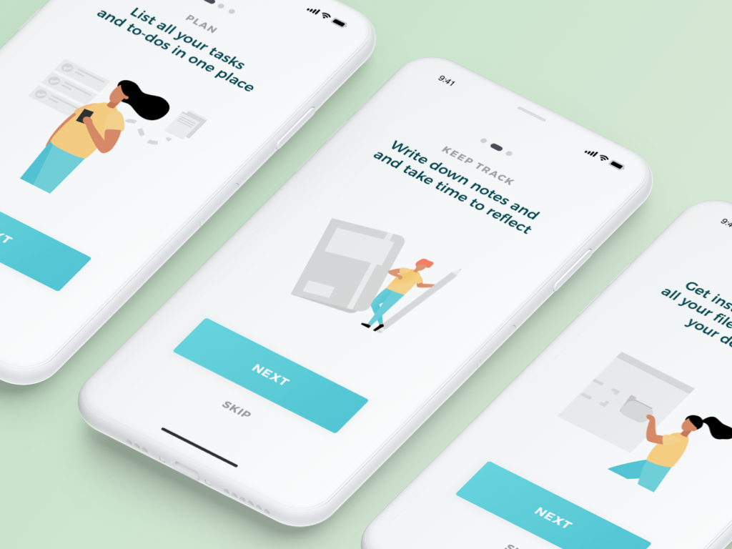 Onboarding for productivity app process illustrations mockup mobile ui iphone x iphonex mobile app blue ux ui onboarding