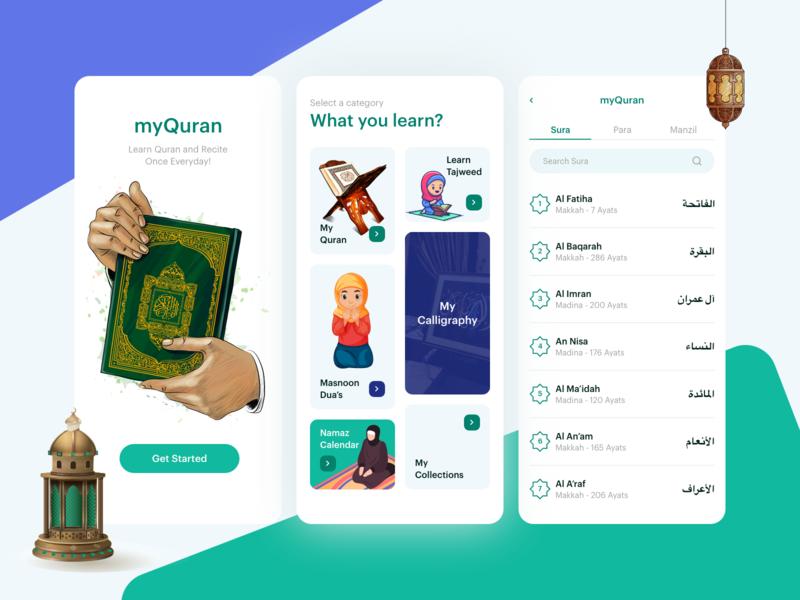 Quran Mobile APP islamic quran clean design modren mobile ui uiux ui minimal mobile app design mobile app