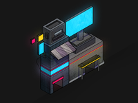 Isometric Cyberpunk illustration