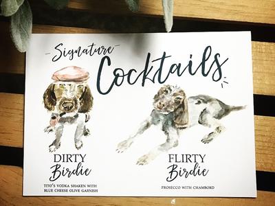 Signature cocktails for a couples reception