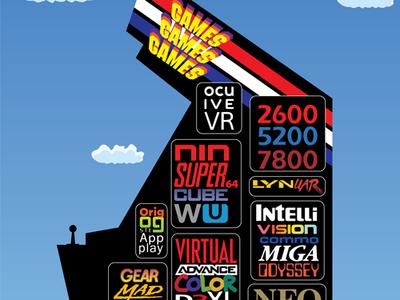 Games! Games! Games! typography logo design adobe illustrator vector artwork vector nostalgia retro arcade game consoles video games design digital illustration